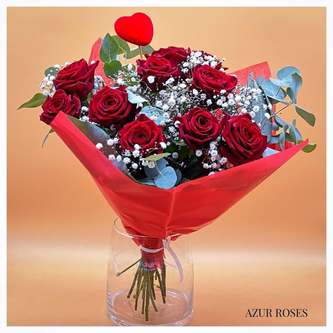 bouquet de roses saint valentin azur roses la crau